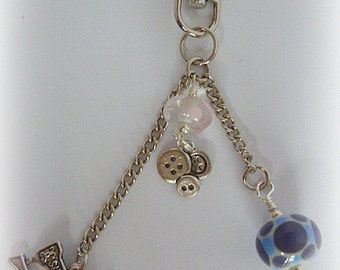 Sewing Queen -  gorgeous handmade sewing themed bag charm