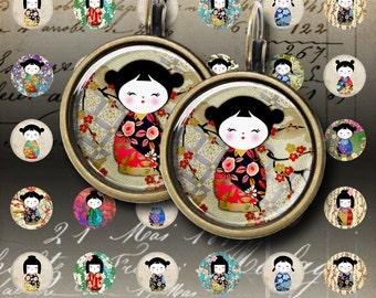 12 mm, 15 mm and 20 mm size images KOKESHI DOLLS Printable Digital Sheets for pendants bracelets earrings bezel settings rings cufflinks