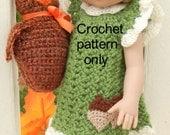 Crochet pattern (PDF) for 10-12 inch child doll Ann Estelle Patsy Tonner Kish - acorn dress & toy owl