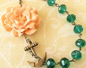 Crystal Necklace Flower Necklace Anchor Jewelry Green Statement Necklace Peach Jewelry Nautical Necklace Gift For Woman
