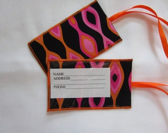 Funky Pink and Orange Luggage Tag