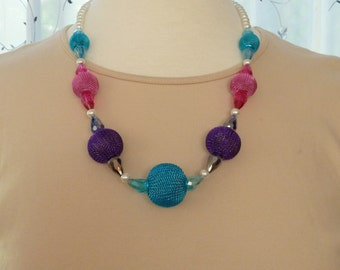 """Necklace of aqua, purple and pink mesh balls with iridescent teardrop crystals and white pearls 24"""""""