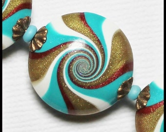 Calypso... Handmade Polymer Clay Beads Set Swirl Spiral Turquoise Teal Aqua Bronze Copper White Antique Brass Bead Caps Jewelry Supplies