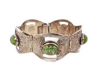 Mexico Bracelet, Sterling Silver, Green Foil Bracelet, Vintage Bracelet, Statement, Hencho En Mexico, Boho, Bohemian, Linked Links, Unique