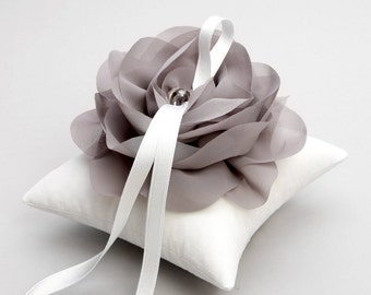 Silver gray ring pillow, wedding ring pillow, flower pillow, ring cushion - Aria