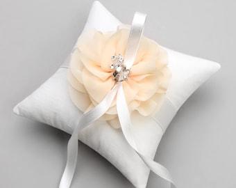 Ivory ring pillow, flower ring pillow, wedding decor - Alice