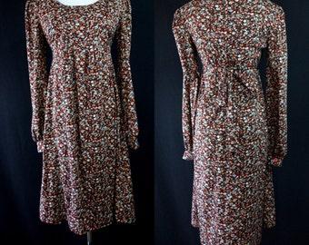 1970s Floral Babydoll Dress Long Sleeves Knee Length