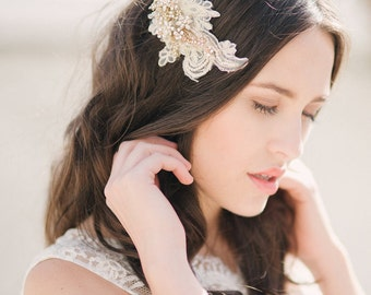 Gold lace headpiece, bridal headpiece, lace hair comb, crystal hair comb, bridal - style 1113 - FREE SHIPPING*