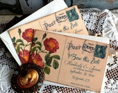 CUSTOM ORDER fo rhannahbeckwith... Vintage Postcard  Wedding Save the Date Cards Handmade by avintageobsession on etsy
