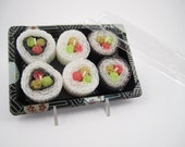 Hand Rolled Beeswax Sushi Candles To Go - Set Of 6 Sushi Candles In An Authentic Take-Out Container