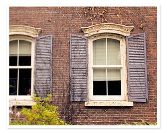 Window Photography, Rusitc Autumn, Fall, Purple Brown Brick Fall Decor, Burlington Vermont, New England photograph, Architecture Photo