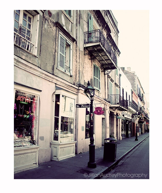 New Orleans Photography, St Peter Street Photography, Architecture, French Quarter, travel photograph, city print, pastel pink, neutral tan