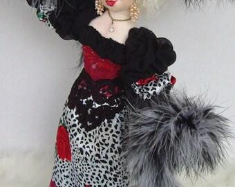 """Art Doll Veronica Big Hat Lady 18"""" OOAK Cloth Doll By Caroline Erbsland Signed"""