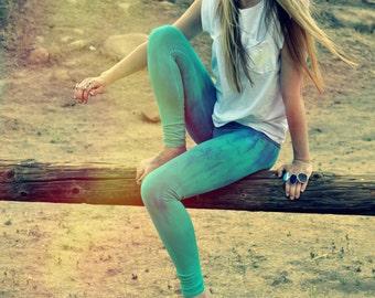 organic yoga pants, hand dyed yoga leggings, tie dye leggings, tie dye pants, sea green leggings, turquoise leggings, mermaid leggings