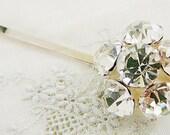 Bobby Pin, Vintage Hair Embellishment, Wedding Bridal Clear Large Rhinestone