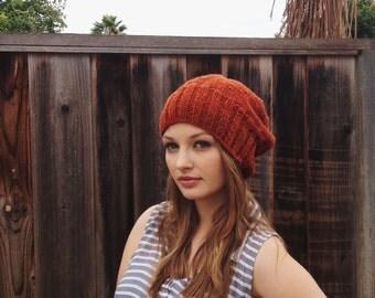 Fall Heathered Beanie // Slouchy Burnt Orange Hat // Fall Accessories // Burnt orange knit beanie