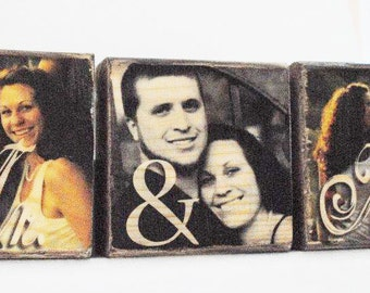 3 Photo blocks - Image transferred to wood -  DAD - MOM - Mr Mrs - custom word name or phrase
