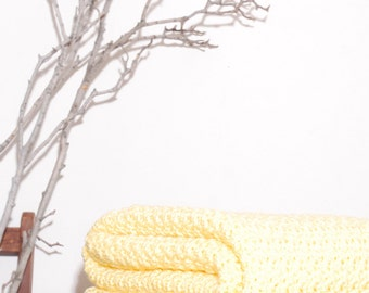 Ready to Ship   Beautiful and Luxuriously Handcrafted CROCHET Blanket Throw LEMON Yellow