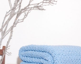 Ready to Ship Beautiful and Luxuriously Handcrafted CROCHET Blanket Throw SPA BLUE