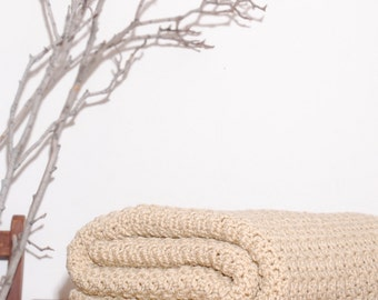 Ready to Ship  Beautiful and Luxuriously Handcrafted CROCHET Blanket Throw CREAMY BUFF
