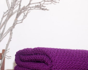 Made to Order  Beautiful and Luxuriously Handcrafted CROCHET Blanket Throw DK. ORCHID
