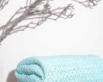 Ready to Ship  Beautiful and Luxuriously Handcrafted CROCHET Blanket Throw SEA GREEN