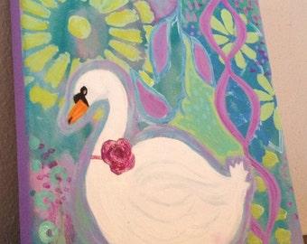 Swan Painting, Girls Room Decor, 8x8 Canvas, Lavender, Light Blue, Green, Flowers, Baby Art SALE
