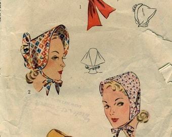 Vintage 1930s  Simplicity 3065 Misses Bonnet-Hat Set  Sewing Pattern Size 22