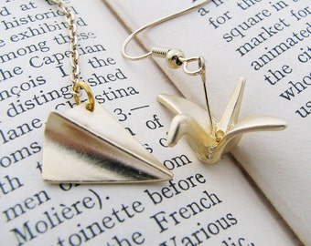 paper plane and origami crane earrings. Gold-plated pewter dangles with 14K gold-plated ear hooks