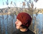 Womens Hat -  Knit hat -   Fashion  - Rust Orange Cloche Hat - cable Knit hat  Winter fashion Accessories - Winter Hat Winter Accessories