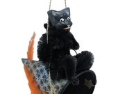 """Mixed Media Sculpture Ornament Inspired by Vintage Japanese and German Hallowe'en Chenille Ornaments - """"Black Cat and the Party Hat"""""""