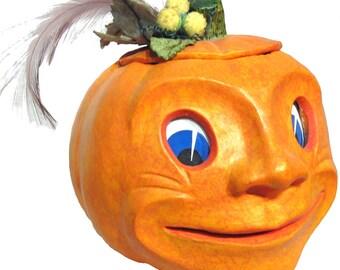 """Mixed Media Sculpture Inspired by Antique German Hallowe'en Folk Art Toys - """"Peter Pumpkin"""""""