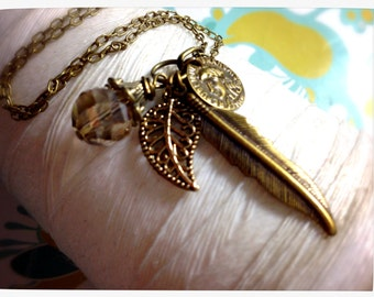 HALF PRICE Treasure Chest - brass charm necklace / feather necklace / leaf necklace  / coin necklace / brass charms / brass necklace