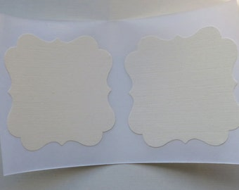 Ivory Label Linen Sticker Square Bracket