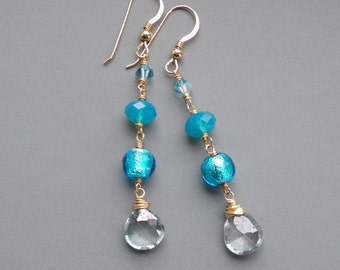 Aquamarine Blue Gold Earrings
