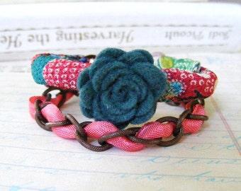 Bracelet, Asian Silk Wrap Bracelet, Layered Bracelet, Copper Chain Woven Bracelet, Felt Rose, Colorful Boho Funky Bracelet