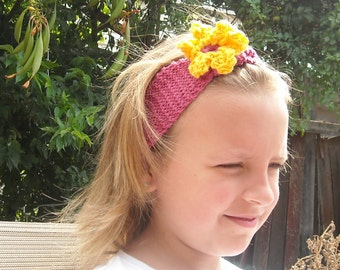 Knitted Pink Headband with Crocheted Yellow Flower