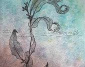 GUMLEAVES & WONDER, ORIGINAL Botanical Painting Australian Nature Art Ready to Hang ink acrylic zen mindfulness