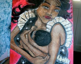 SALE! 50 % off! Original Mixed Media Painting: I'll Hold the Baby