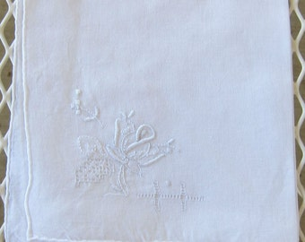 Vintage Embroidered Handkerchief, Vintage White Cotton Hankie with White Embroidered Rose