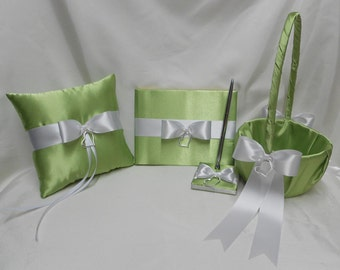 Wedding Lime Apple Green Flower Girl Basket Ring Pillow Guest Book Pen Set Your Colors