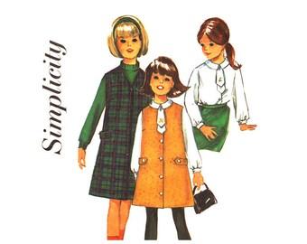 Girls Jumper & Blouse Pattern Simplicity 6155 Sleeveless Dress Girls Sewing Pattern Size 6 Vintage Pattern