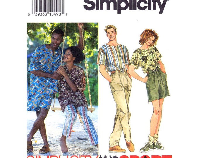 Pullover Top Pants Shorts Pattern Simplicity 9025 Trousers Mens Womens Size XS S M