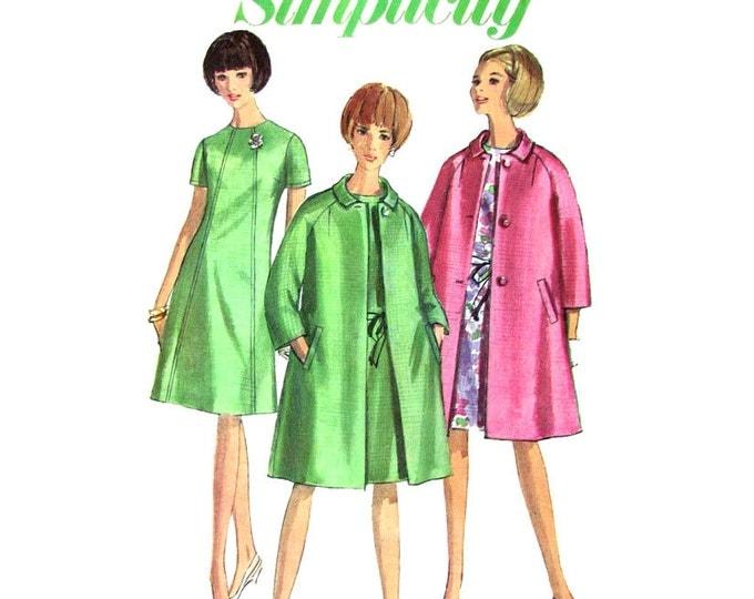 1960s Raglan Coat & Dress Sewing Pattern Simplicity 6933 Womens Bust 34 Vintage