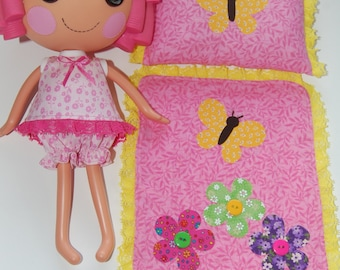 "Lalaloopsy Pattern -Summer Pajamas with Butterfly Blanket & Pillow  for 12"" Lalaloopsy dolls- pdf sewing pattern"