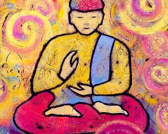 Buddha Art, Peace Meditation Art, Gallery Wrap Canvas Yoga Print