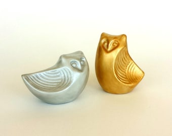 Owls Wedding Cake Topper Modern Woodland Gold and Silver Metallic Hand Painted Ceramic Salt and Pepper Shakers
