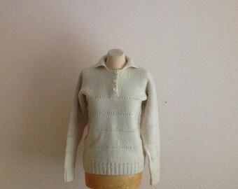70s Wool Sweater Cable Knit Fisherman Cream Boyfriend Small Medium