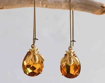 Honey Bee EARRINGS Amber Gold Citrine Crystal Nature Autumn