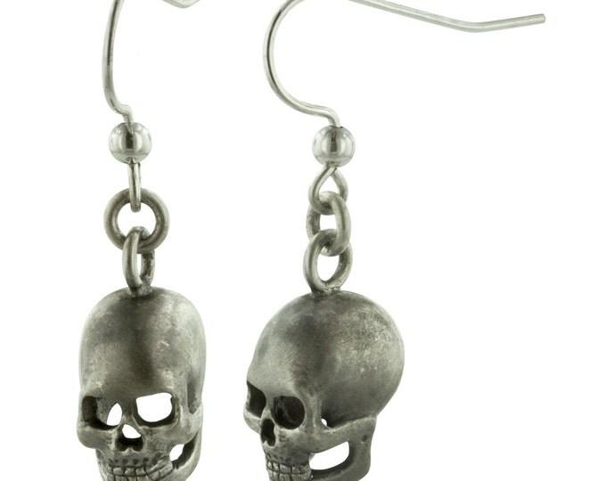 SKULLS // Hand Carved Sterling Silver Skull Earrings
